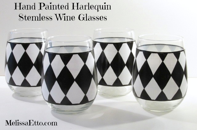 Harlequin stemless wine glasses