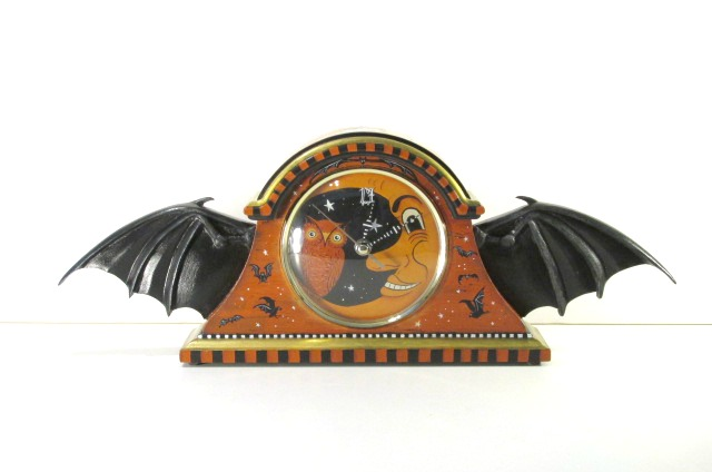 bat wing clock with crescent moon and owl
